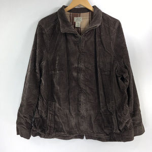 LL Bean 2X Brown Corduroy Coat Zip Up